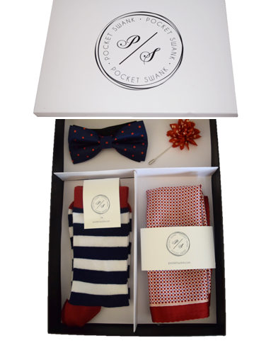 Gift Set including Polka Dot Bow Tie, Silk Pocket Square, Lapel Flower and Socks