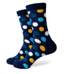 navy and yellow spot socks