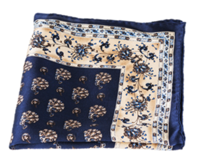 Navy and Beige 100% Silk Pocket Square