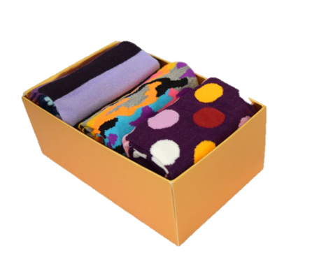 3 Pack Funky Socks (Purple)