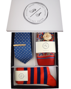 Groomsmen Gift Box with Tie, Pocket Square, Tie Clip, Lapel Flower and Socks