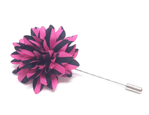 Pink and Black Striped Lapel Flower Pin