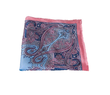Pink and Blue Detailed Silk Pocket Square