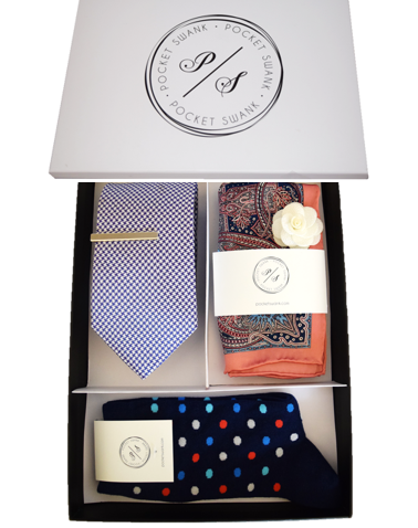 Tie Gift Box including Silk Tie, Silk Pocket Square, Tie Clip, Lapel Flower and Socks