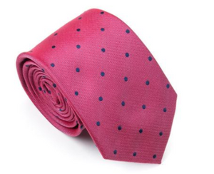 Pink with Navy Polka Dots 100% Silk Necktie