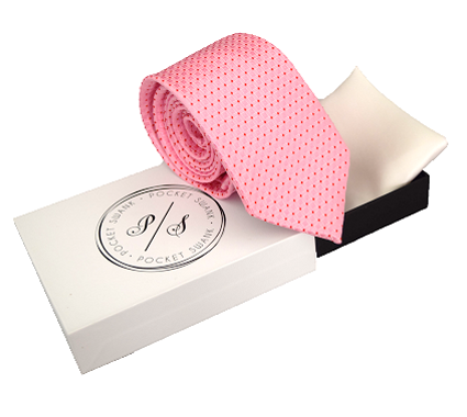 Pink Necktie and White Silk Pocket Square