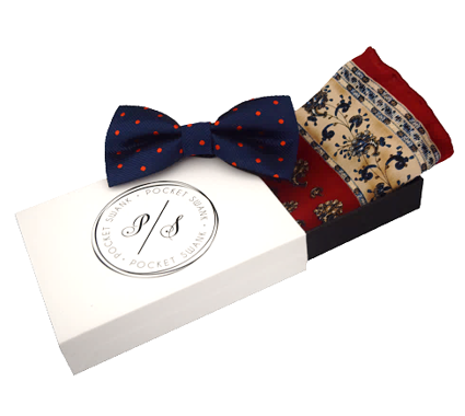 Navy and Red Polka Dot Bow Tie and Red and Beige Silk Pocket Square