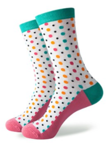Pink white and turquoise spot socks