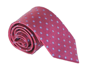 Red with Blue and White Pattern 100% Silk Necktie