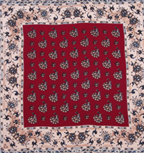 Detailed Red and Beige Silk Pocket Square