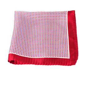 Pink and Red Polka Dot 100% Silk Pocket Square