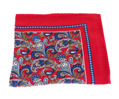 Red and Blue Paisley Silk Pocket Square