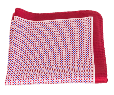 Red Polka Dot Silk Pocket Square