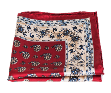 Red and Beige Silk Pocket Square