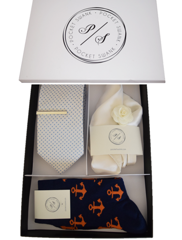 5 Piece Men's Gift Box including Tie, Tie Clip, Pocket Square, Lapel Flower and Socks
