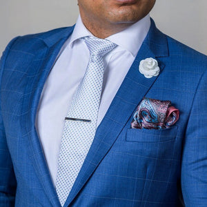 Pink and Blue Silk Pocket Square