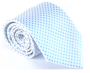 White and Blue 100% Silk Necktie