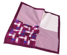 Four Way Maroon and Cream 100% Silk Pocket Square