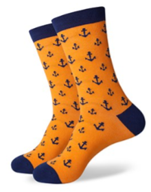 orange and navy anchor dress socks