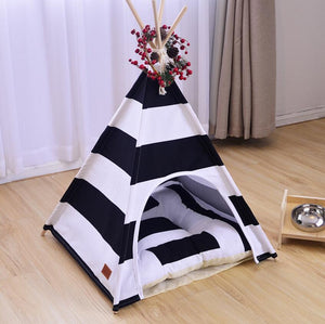 Hot sale fashion Pet tent Dog house dog bed Pet House Tent Wood Kennel Puppy love Dog Cat Bed House with mat Four Seasons SE19