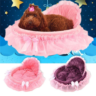 Princess Dog Bed Soft Sofa For Small Dogs Pink Lace Puppy House Pet Doggy Teddy Bedding Cat Dog Beds Luxury Nest Mat Kennels