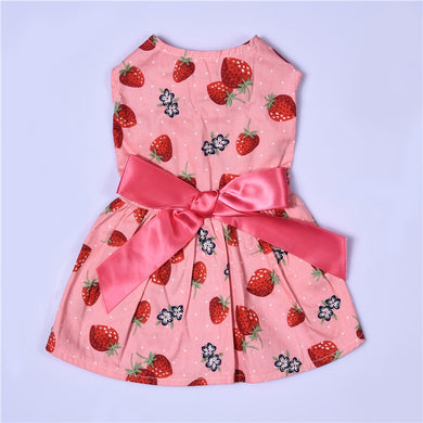 Summer Strawberry Patterns One-piece Dress Pet Dog Puppy Princess Dress Cute Pet Clothes XS/S/M/L 1pcs 2017