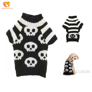 Halloween Skull Dog Sweater Black White Pet Clothes Winter Warm Coat Puppy Cat Costumes Pets Apparel For Small Dogs Chihuahua