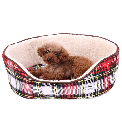 PAWZRoad Pet Bed Dog Ultra Soft Plush Dog Bed Warming Kitten Puppy Cozy Cushion Sofa Dog Products Anti-Skip Plaid Pads