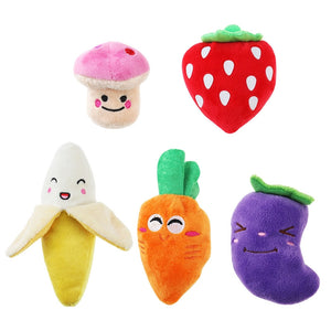 UEETEK 5pcs Squeaky Dog Toys for Small Dogs Fruits and Vegetables Plush Puppy Dog Toys