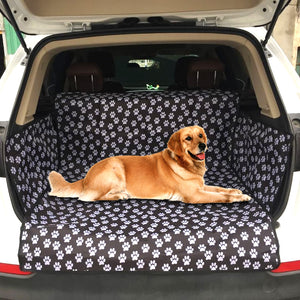 Hoomall Pet Car Mat Printed Paws Black Waterproof Oxford Cloth Pet Pad Dog Car Mat Pads SUV Dog Car Trunk Mat Dog Car Seat Cover