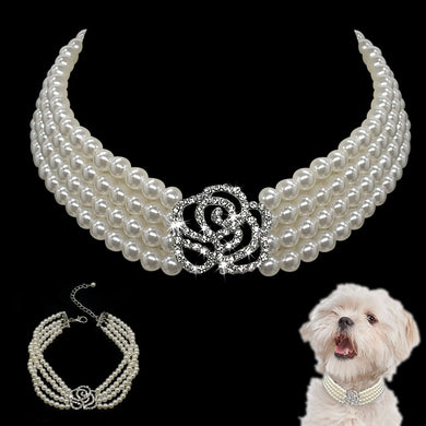 Pearl Dog Necklace Collar Fashion Jeweled Puppy Cat Collar With Bling Rhinestone Diamante Dog Pet  Accessories Supplies