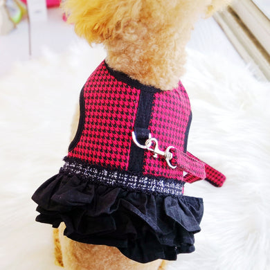 Houndstooth Pet Cats Harness Dresses Luxury Princess Skirt Dog Puppy Animals Costumes With Leash For Chihuahua Yorkshire Pugs