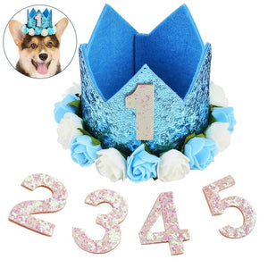 High Quality Pet Cat Dog Birthday Party Hat One to Five Caps First Birthday Princess Crown Party Puppy Kitten Favors Headband