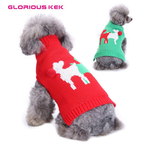 GLORIOUS KEK Christmas Dog Clothes Cute Reindeer Dog Sweaters with Pom Pom Warm Holiday Knitwear for Cats Small Dogs Red Green