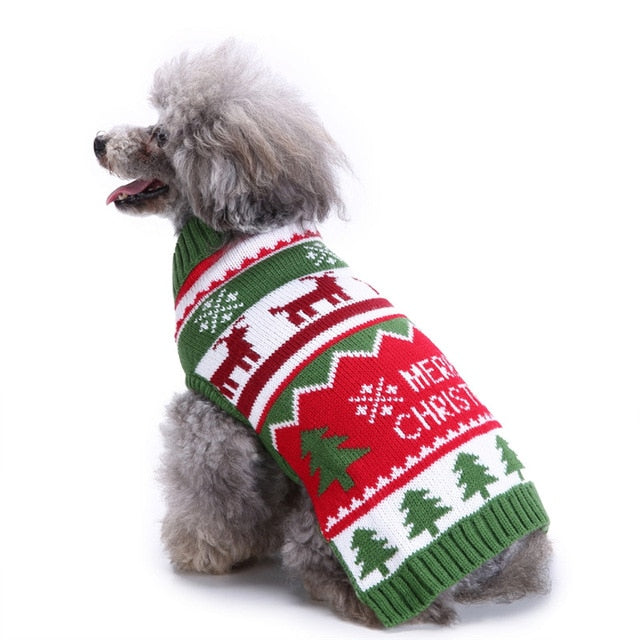 GLORIOUS KEK Pet Dog Sweaters Christmas Small Dog Ugly Sweaters Reindeer Xmas Tree Crochet Puppy Knitwear Kitten Holiday Clothes