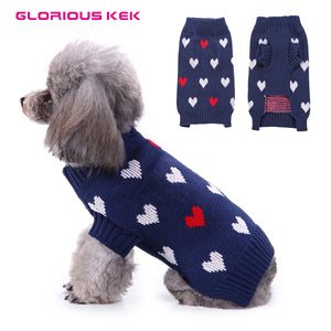 GLORIOUS KEK Dog Clothes Sweater Heart Pattern Fall/Spring Dog Clothes for Small Dogs Chihuahua Knit Wear Cute Puppy Clothing