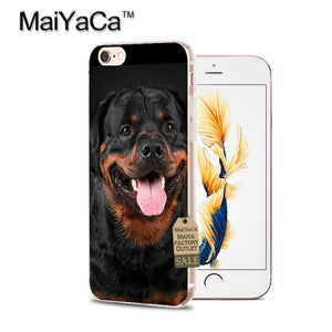 MaiYaCa black dog Rottweiler Dog soft tpu phone case cover for iPhone6 6S 7 8Plus X 10 5S SE 5C 4s case Coque