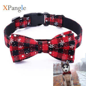 XPangle Pet Dog Collar Lattice Plaid Bow-knot Dog Cat Collar Christmas Accessories for Chihuahua Puppy Necklace Pet Supply XS-L