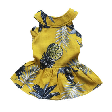 Pineapple Dog Dress Pet Clothes Cat Shirts High Quality Tutu Dress Apparel Yellow For Small Dogs Chihuahua Yorkie 20A