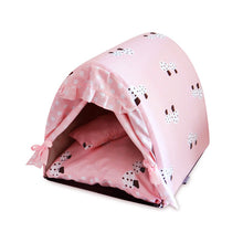 Pink and Gray Mushroom and Polka Dog Canopy Bed