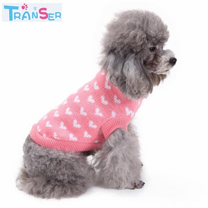 Transer Pink Heart Round Neck Small Pet Dog Cute Clothes Puppy Sweater Costume Dog Clothes For Small Dogs  18Apr4