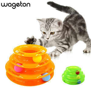 Turntable Cat Toy Wageton Tower Shape Pet Anti-Slip Discs Active Ball Toys Play Training for Kitty Kitten Cats Puppies 3 Layers