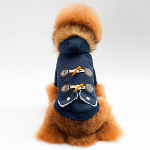 Winter Warm Pet Outerwear Dog Clothes Coat Fleece Liner Warm Fur Hooded Dog Hood Puppy Jacket Chihuahua Clothes