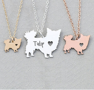 Personalized Longhair Chihuahua Necklace