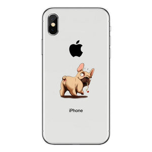 Cartoon French bulldog Soft Phone Case For iPhone