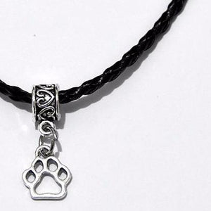 Cut-Out Pet Paw Necklace Stranded Leather