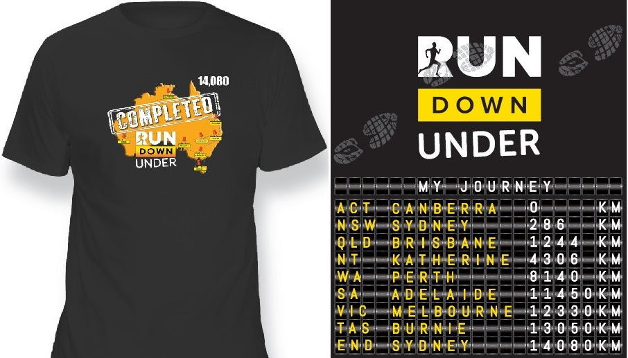 Finishers Shirt - Run Down Under Map 1