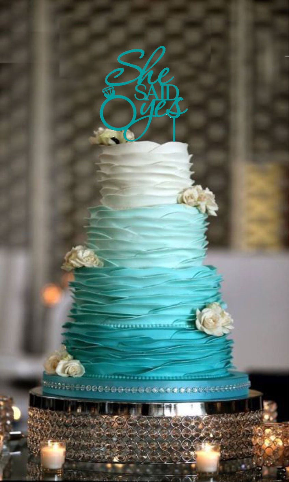 She Said Yes Cake Topper Wedding Decorations Glossy Teal