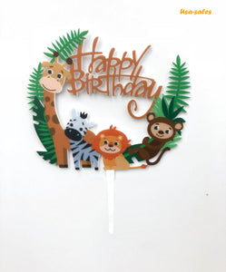 Happy Birthday Cake Topper Colorful Zoo Animals Kids