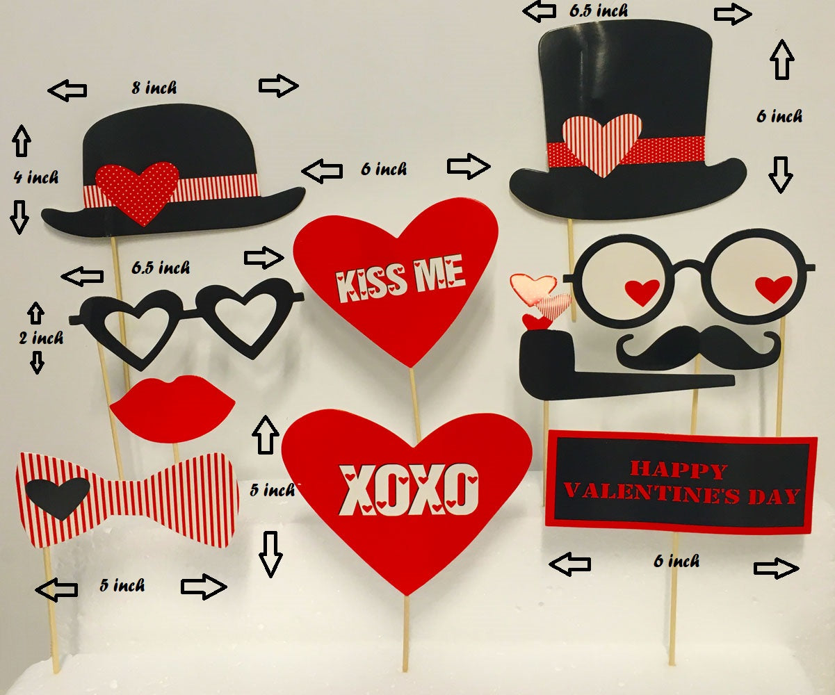 Valentines Day Photo Booth Props Attached No Diy Required